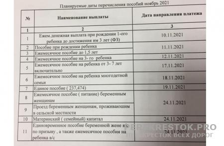 Перечисление пособий на детей в ноябре 2021 года